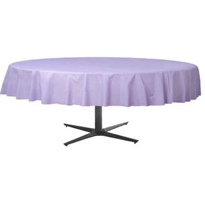 Table Cloth: Lilac Round Plastic Tablecover 86cm x 2.1m (each)