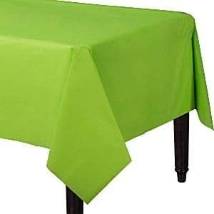 Table Cloth: Lime Green Plastic Tablecover - 1.4m x 2.8cm (each)