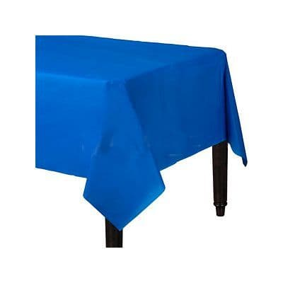 Table Cloth: Royal Blue Plastic Tablecover - 1.4cm x 2.8cm (each)