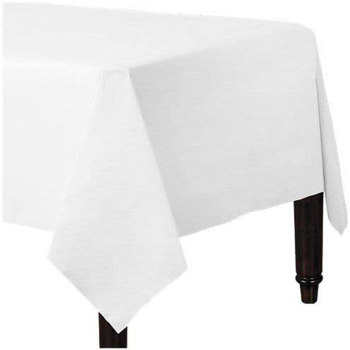 Table Cloth: White Plastic Lined Paper Tablecover - 1.4m x 2.8m