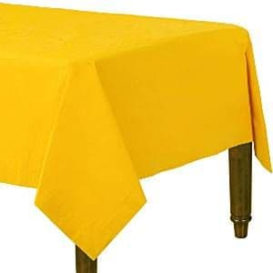 Table Cloth: Yellow Plain Tablecover - Paper - 90cm x 90cm (2pk)