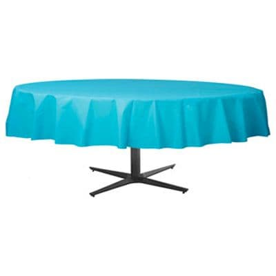 Table Cover: Turquoise Round plastic tablecover 86cm x 2.1m (each)