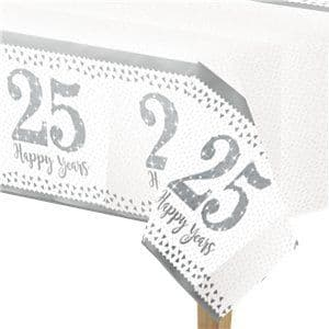 Tablecloth: 25th Silver Sparkling Wedding Anniversary Plastic Tablecover - 1.2m x 1.8m