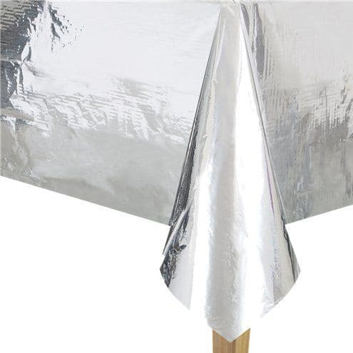 Tablecloth: Metallic Silver Foil Tablecover - 1.4m x 2.7m