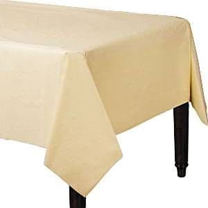 Tablecloth: Vanilla - Ivory Party Ivory Plastic Tablecover - 1.4m x 2.8m