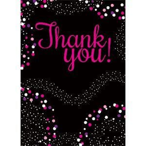 Thankyou cards: Pink Thank You Cards- Small Size: 9.5cm x 13.5cm x8pk