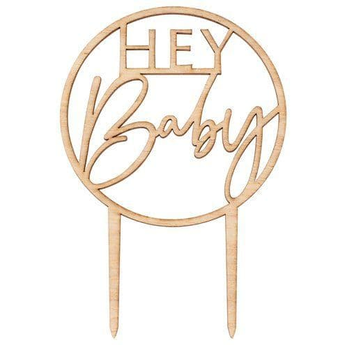 Topper: Botanical Baby Wooden Hey Baby Cake Topper - 20cm