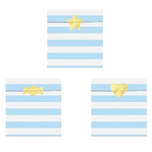 Treat Bag: Light Blue Stripe Paper Treat Bags - 14cm x6pk