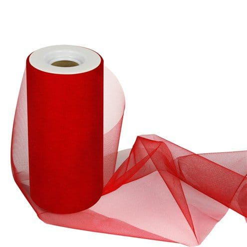 Tulle: Red Tulle Roll - 15cm x 25m