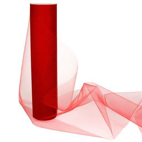 Tulle: Red Tulle Roll - 30cm x 25m