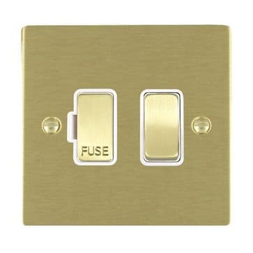 82SPSB/WH Hamilton Sheer Flat Plate 1 Gang 13a Switched Fused Spur Satin  Brass