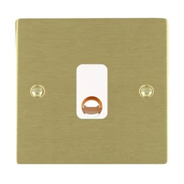 82COWH Hamilton Sheer Flat Plate Cable Outlet Satin  Brass White Inserts