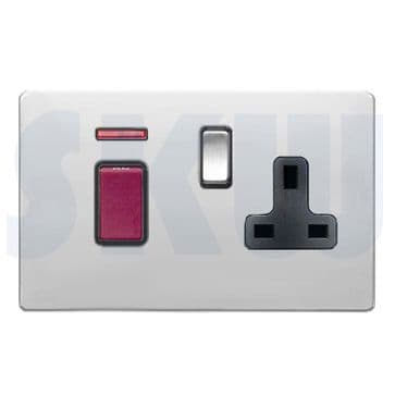 Hamilton Sheer CFX Cooker Socket & 45a Switch + Neon Polished Chrome