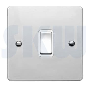 87R21BC/WH Hamilton Sheer Flat Plate 10a Light Switch 1 Gang 2 Way Polished Chrome