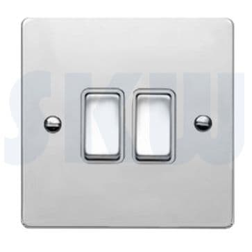 87R22BC/WH Hamilton Sheer Flat Plate 10a Light Switch 2 Gang 2 Way Polished Chrome