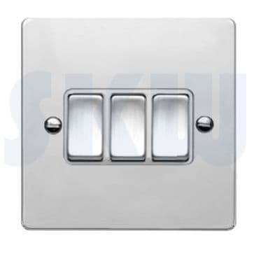 87R23BC/WH Hamilton Sheer Flat Plate 10a Light Switch 3 Gang 2 Way Polished Chrome