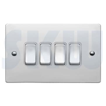 87R24BC/WH Hamilton Sheer Flat Plate 10a Light Switch 4 Gang 2 Way Polished Chrome