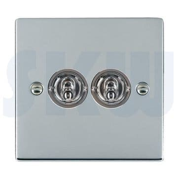 87S22 Hamilton Sheer Flat Plate Dolly Switch 2 Gang 2 Way Polished Chrome