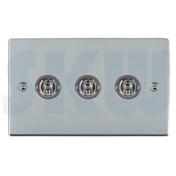 87S23 Hamilton Sheer Flat Plate Dolly Switch 3 Gang 2 Way Polished Chrome