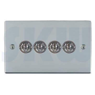 87S24 Hamilton Sheer Flat Plate Dolly Switch 4 Gang 2 Way Polished Chrome