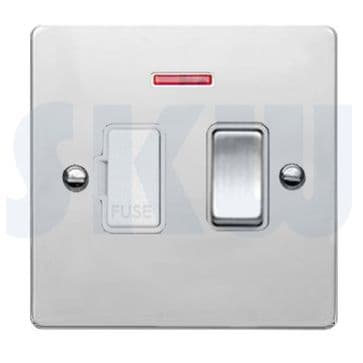 87SPNBC/WH Hamilton Sheer Flat Plate 1 Gang 13a Switched Fused Spur + Neon Polished Chrome