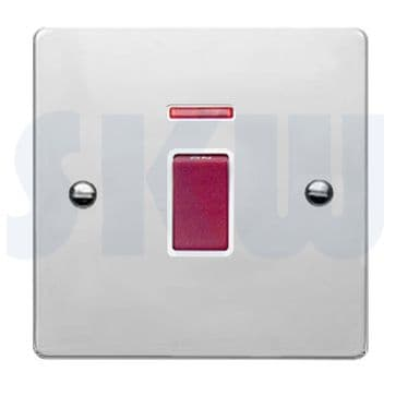 8745DPNWH Hamilton Sheer Flat Plate 45a Double Pole Switch with Neon Polished Chrome