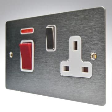 8445DPNSS1SS/WH Hamilton Sheer Flat Plate Cooker Socket & 45a Switch + Neon Satin Stainless Steel