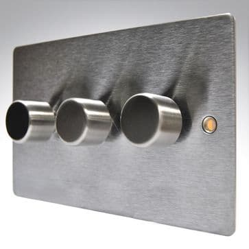 84P3X400 Hamilton Sheer Flat Plate Dimmer 3 Gang 2 Way 400w Satin Stainless Steel