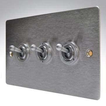 84S23 Hamilton Sheer Flat Plate Dolly Switch 3 Gang 2 Way Satin Stainless Steel