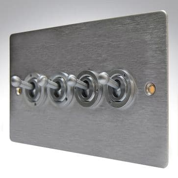 84S24 Hamilton Sheer Flat Plate Dolly Switch 4 Gang 2 Way Satin Stainless Steel