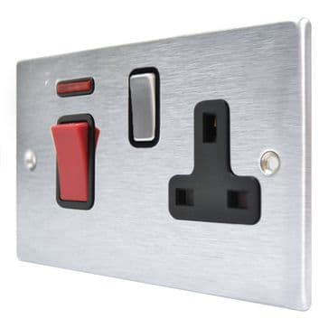 Hamilton Hartland 7645SS1SC Satin Chrome 45A Cooker Control Plate with Switched Socket Black