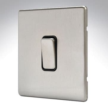 MK Aspect 1 Gang Switch 20amp Brushed Stainless Steel