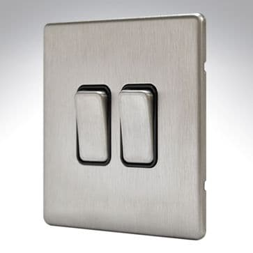 MK Aspect 2 Gang Switch 20amp Brushed Stainless Steel