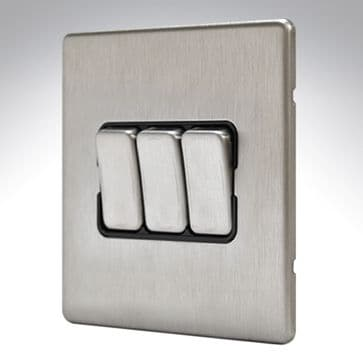 MK Aspect 3 Gang Switch 10amp Brushed Stainless Steel