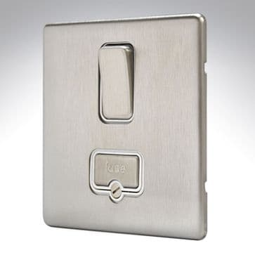 MK Aspect Connection Unit Switched Brushed Stainless Steel