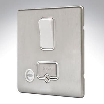 MK Aspect Connection Unit Switched + C/O Brushed Stainless Steel