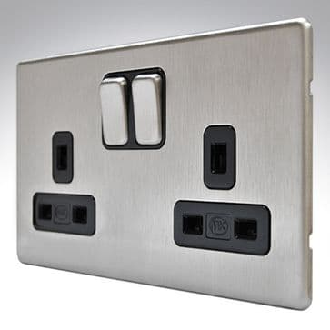 MK Aspect Double Socket Brushed Stainless Steel