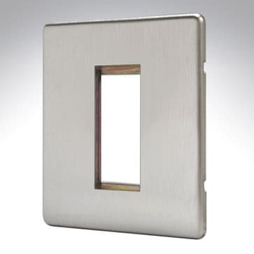 MK Aspect Plate 1 Euro Module Brushed Stainless Steel