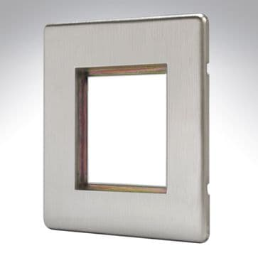 MK Aspect Plate 2 Euro Module Brushed Stainless Steel