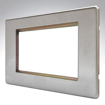 MK Aspect Plate 4 Euro Module Brushed Stainless Steel