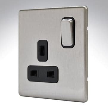 MK Aspect Single Socket Brushed Stainless Steel