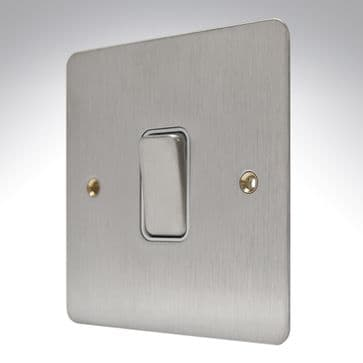 K14371 BSS W MK Edge Brushed Stainless Steel Flat Plate Light Switch 1 Gang 20a
