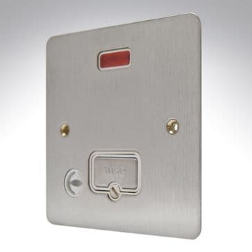 K14978 BSS W MK Edge Brushed Stainless Steel Flat Plate Spur Unswitched + Neon + Flex Outlet