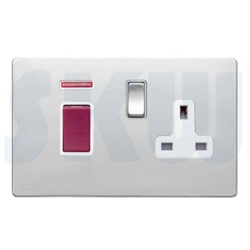 8745DPNSS1BC/WH Hamilton Sheer Flat Plate Cooker Socket & 45a Switch + Neon Polished Chrome