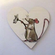 'Mouse Holding Daisy'. Magnetic heart plaque