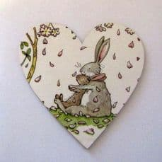 'Some Bunny Loves You'. Magnetic heart plaque