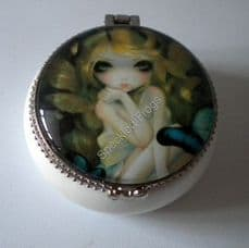 Lily, Pretty little white ceramic trinket boxes,  design by Jasmine Becket-Griffith.