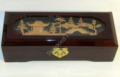 Oblong Jewellery Box With Cork Carving on Lid.