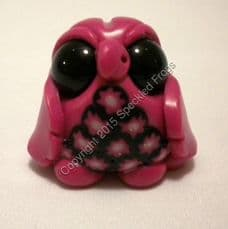 Tiny Owl, pink with black floral chest panel.