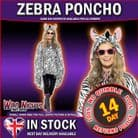 ADULT MENS LADIES WATERPROOF FESTIVAL ANIMAL PRINT PARTY PONCHO - STRIPEY ZEBRA
